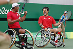 (L-R)<br /> Satoshi Saida,<br /> Shingo Kunieda (JPN),<br /> SEPTEMBER 15, 2016 - Wheelchair Tennis : <br /> Men's Doubles Bronze Medal match<br /> at Olympic Tennis Centre<br /> during the Rio 2016 Paralympic Games in Rio de Janeiro, Brazil.<br /> (Photo by Shingo Ito/AFLO)