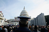 Washington, DC - January 20, 2009 -- A United States Air Force Honor Guard member stands at attention as the first visitors arrive at the US Capitol before president-elect Barack Obama's inauguration in Washington DC, Tuesday, January 20, 2009..Credit: Ryan Anson - Pool via CNP