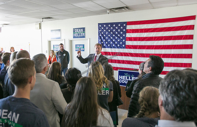 Senator Dean Heller meet with Heller campaign volunteers at the RNC field office in Reno, Thursday, Nov. 1, 2018.