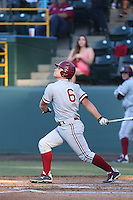 Brant Whiting #6 of the Stanford Cardinal bats against the UCLA Bruins at Jackie Robinson Stadium on May 2, 2014 in Los Angeles, California. UCLA defeated Stanford, 7-2. (Larry Goren/Four Seam Images)