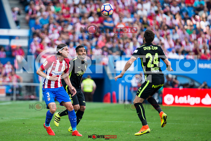 Atletico de Madrid's player Filipe Luis and Sporting de Gijon's Douglas and Duje Cop during a match of La Liga Santander at Vicente Calderon Stadium in Madrid. September 17, Spain. 2016. (ALTERPHOTOS/BorjaB.Hojas) /NORTEPHOTO