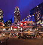 Charlotte NC - Epi-Centre in uptown Charlotte NC, an entertainment hot spot for the Charlotte area. Here you can see the crown of the Bank of America building lit orange for the Bobcats, Charlotte's pro basketball team.
