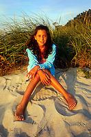 Young girl enjoying the beach the beach, Brewster, Cape Cod