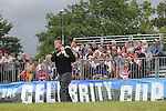 Actor Philip Glenister tees off on the 1st hole.<br /> Celebrity Cup Golf<br /> Celtic Manor Resort<br /> 04.07.14<br /> &copy;Steve Pope-SPORTINGWALES