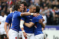 2nd February 2020, Stade de France, Paris; France, 6-Nations International rugby union, France versus England;  Try is scored by Vincent Rattez (France) celebrates with Gael Fickou (France)  Antoine Dupont (France) and Teddy Thomas (France)