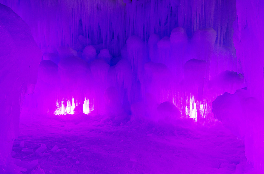 Chamber walls explode in a riot of ever changing colors inside the Ice Castle at Loon Mountain.