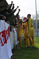 Bradley Warner of Hornchurch scores the opening goal and celebrates during Witham Town vs AFC Hornchurch, Bostik League Division 1 North Football at Spa Road on 14th April 2018