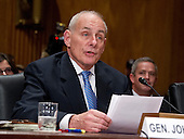 General John F. Kelly, USMC (Retired) delivers his opening remarks as he testifies before the United States Senate Committee on Homeland Security and Governmental Affairs confirmation hearing on his nomination to be Secretary, US Department of Homeland Security on Capitol Hill in Washington, DC on Tuesday, January 10, 2017.<br /> Credit: Ron Sachs / CNP