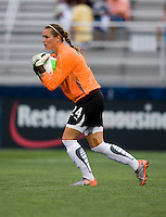 Ashlyn Harris (24) of the Washington Freedom cradles the ball during the game at the Maryland SoccerPlex in Boyds, Maryland.  The Washington Freedom defeated the Philadelphia Independence, 2-0.