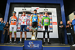 The Jersey winners Salmon Jersey Sindre Skjostad Lunke Team Fortuneo-Samsic, White Jersey Markus Hoelgaard Joker Icopal, Overall Sergei Chernetski Astana Pro Team and  Green Jersey Mathieu Van Der Poel (BEL) Corendon-Circus on the podium at the end of Stage 4 of the 2018 Artic Race of Norway, running 145.5km from Kvalsund to Alta, Norway. 18th August 2018. <br /> <br /> Picture: ASO/Pauline Ballet | Cyclefile<br /> All photos usage must carry mandatory copyright credit (&copy; Cyclefile | ASO/Pauline Ballet)