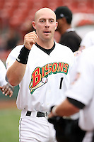 June 28th 2008:  Chris Gimenez of the Buffalo Bisons, Class-AAA affiliate of the Cleveland Indians, during a game at Dunn Tire Park in Buffalo, NY.  Photo by:  Mike Janes/Four Seam Images