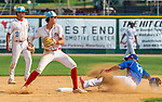 WATERBURY,  CT-072719JS26-- D-Bat's Caden Greanead (4) throws to first but can't turn the double-play after getting Cyclones Ponce's Derik Duran (99) out on a force play at second base during their Mantle World Series game Saturday at Municipal Stadium in Waterbury.  <br /> Jim Shannon Republican-American