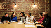 United States President Barack Obama and First Lady Michelle Obama have dinner with winners of a campaign contest, including, from far left, John Loringer and Cathleen Loringer, from Wauwatosa, WI, Judy Glassman and Mitch Glassman, from Cambridge, MA, at Boundary Road, on Thursday, March 8, 2012, in Washington, DC.  .Credit: Leslie E. Kossoff / Pool via CNP
