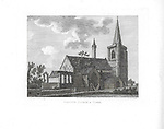 Engravings of Scottish landscapes and buildings from late eighteenth century, Brechin church and tower, Scotland, UK