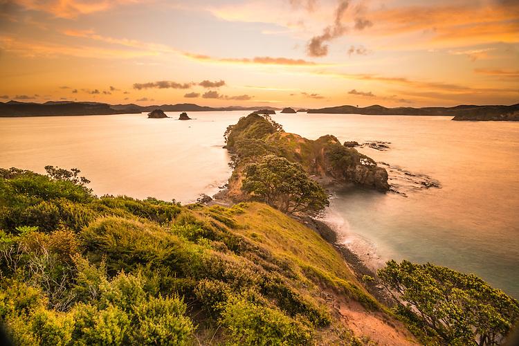 Sunset, Rawhiti Point, Bay of Islands, New Zealand - stock photo, canvas, fine art print