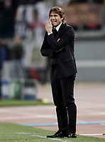 Football Soccer: UEFA Champions League AS Roma vs Chelsea Stadio Olimpico Rome, Italy, October 31, 2017. <br /> Chelsea's coach Antonio Conte reacts during the Uefa Champions League football soccer match between AS Roma and Chelsea at Rome's Olympic stadium, October 31, 2017.<br /> UPDATE IMAGES PRESS/Isabella Bonotto
