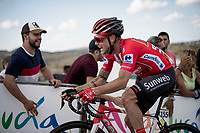 red jersey (overall leader) Nicolas Roche (IRE/Sunweb) fighting to maintain his GC-lead in the stage finale towards the finish (at almost 2000m alt.)<br /> <br /> Stage 5: L'Eliana to Observatorio Astrofísico de Javalambre (171km)<br /> La Vuelta 2019<br /> <br /> ©kramon