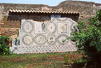 Italy: Ostia--Lovely mosaic: unidentified. Polychrome mosaic with representation of the months, 4th century A.D. Photo '83.