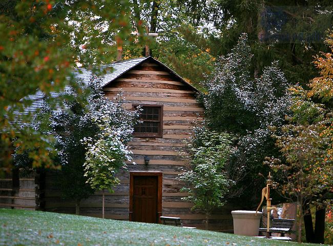 Log Chapel after a fall dusting of snow..© copyright (2006) Matt Cashore