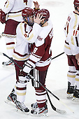 Edwin Shea (BC - 8), Colin Shea (UMass - 8) - The Boston College Eagles defeated the visiting University of Massachusetts-Amherst Minutemen 2-1 in the opening game of their 2012 Hockey East quarterfinal matchup on Friday, March 9, 2012, at Kelley Rink at Conte Forum in Chestnut Hill, Massachusetts.