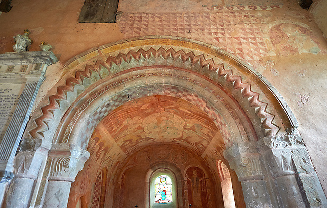 Painted arch of the Romanesque of the Norman Church of St Mary's Kempley Gloucestershire, England, Europe