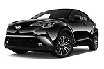 Stock pictures of low aggressive front three quarter view of 2017 Toyota C-HR C-Show 5 Door SUV Low Aggressive