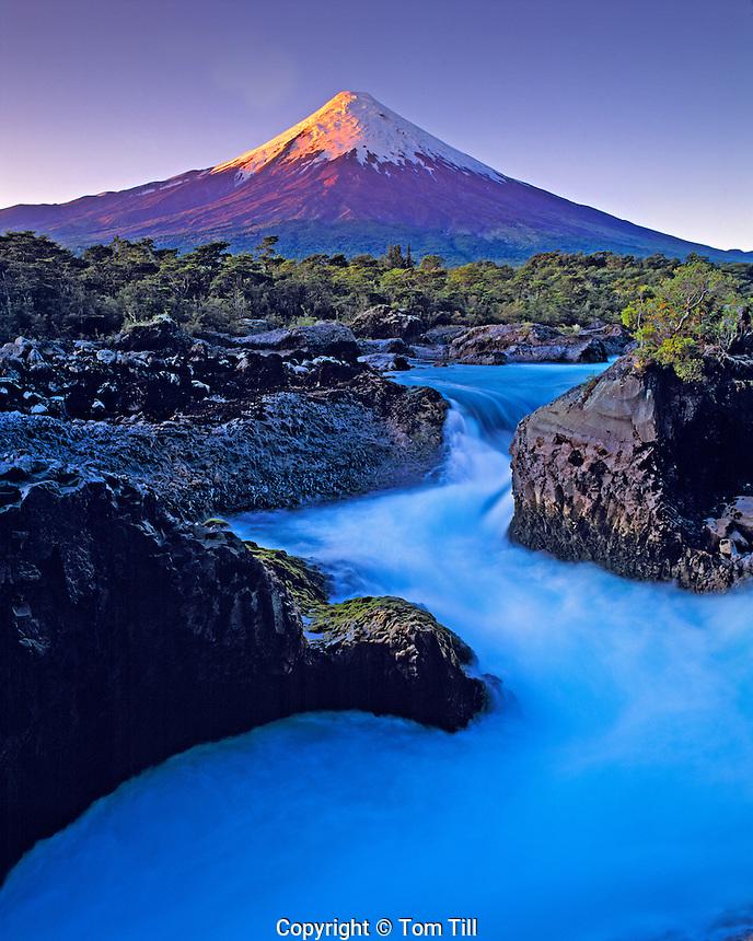 Sunset at Osorno Volcano, Petrohue Falls, Vicente Perez Rosales National Park, Chile, South America