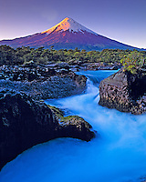 Sunset at Osorno Volcano, Petrohue Falls, Vicente Perez Rosales National Park, Chile, South America