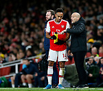 Arsenal's Pierre-Emerick Aubameyang talks to Freddie Ljungberg during the Premier League match at the Emirates Stadium, London. Picture date: 5th December 2019. Picture credit should read: David Klein/Sportimage