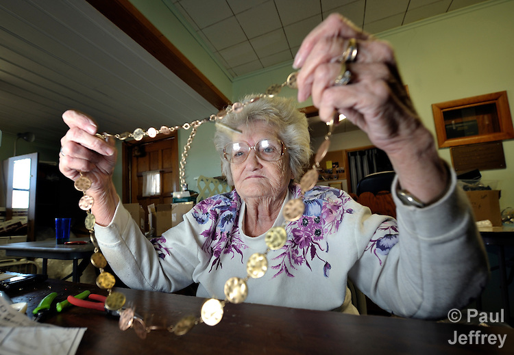 Minnie Glenn, 78, earns money by sorting and repairing jewelry at the Cookson Hills Center, a ministry of The United Methodist Church in Cookson, Oklahoma.
