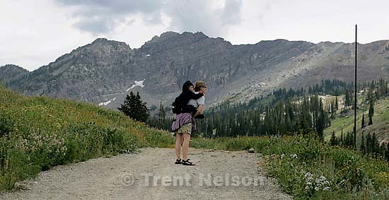 Laura Nelson, Nathaniel Nelson, Noah Nelson on a walk in the Albion Basin. 8.15.2004<br />