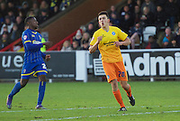 Luke O'Nien of Wycombe Wanderers during the Sky Bet League 2 match between AFC Wimbledon and Wycombe Wanderers at the Cherry Red Records Stadium, Kingston, England on 21 November 2015. Photo by Alan  Stanford/PRiME.