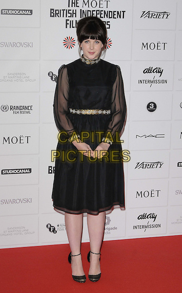 Alexandra Roach.The 15th Moet British Independent Film Awards 2012, Old Billingsgate Market, London, England..December 9th, 2012.full length black dress sheer silver gold belt collar .CAP/CAN.©Can Nguyen/Capital Pictures.