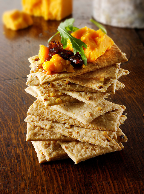 Cheese and biscuits with  Red Leicester cheese