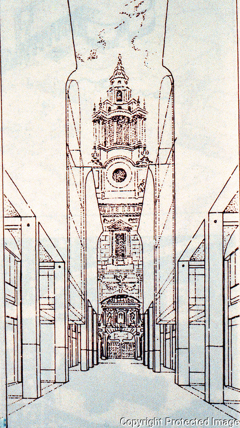 London: Paternoster. MacCormac, Jamieson, Prichard & Wright. N-S Streets with 10M. Collonades, open to views of Cathedral.  Reference only.