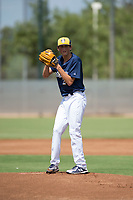 Milwaukee Brewers starting pitcher Reese Olson (27) gets ready to deliver a pitch during an Instructional League game against the Los Angeles Dodgers at Maryvale Baseball Park on September 24, 2018 in Phoenix, Arizona. (Zachary Lucy/Four Seam Images)