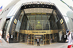 Trump Tower entrance with doorman and pedestrians, fisheye 180 degree view, Fifth Avenue, Manhattan, NYC, USA, on June 27, 2011. NOTE: takend with fisheye lens