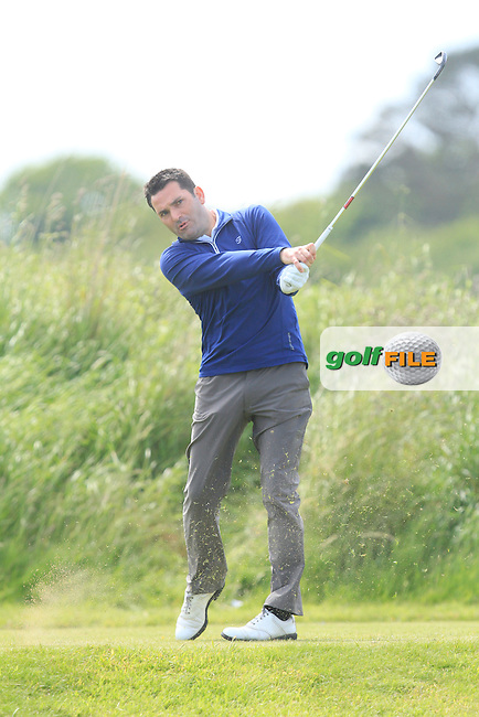 Gary O'Flaherty (Cork) on the 9th tee during Round 4 of the Irish Amateur Close Championship at Seapoint Golf Club on Monday 9th June 2014.<br /> Picture:  Thos Caffrey / www.golffile.ie