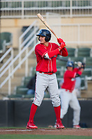 Mickey Moniak (22) of the Lakewood BlueClaws at bat against the Kannapolis Intimidators at Kannapolis Intimidators Stadium on April 6, 2017 in Kannapolis, North Carolina.  The BlueClaws defeated the Intimidators 7-5.  (Brian Westerholt/Four Seam Images)