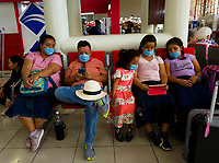 HAVANA, CUBA - MARCH 23: Mexican family wait for a flight to go back to their country at the José Marti International Airport in Havana on March 23, 2020. Thousands of tourists leave Cuba one day before the partial closure of borders announced by the Cuban Government to prevent the spread of COVID-19 becomes effective.The World Health Organization declared a global pandemic as the coronavirus rapidly spreads across the world. (Photo by Eliana Aponte/VIEWpress/Corbis via Getty Images)