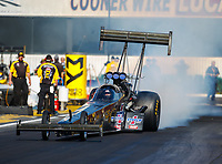Feb 9, 2018; Pomona, CA, USA; NHRA top fuel driver Steve Faria during qualifying for the Winternationals at Auto Club Raceway at Pomona. Mandatory Credit: Mark J. Rebilas-USA TODAY Sports