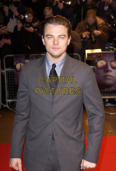 LEONARDO DICAPRIO.European Premiere of The Aviator, Odeon West End, Leicester Square, London..December 19th, 2004.half length, grey, gray suit jacket.www.capitalpictures.com.sales@capitalpictures.com.© Capital Pictures.