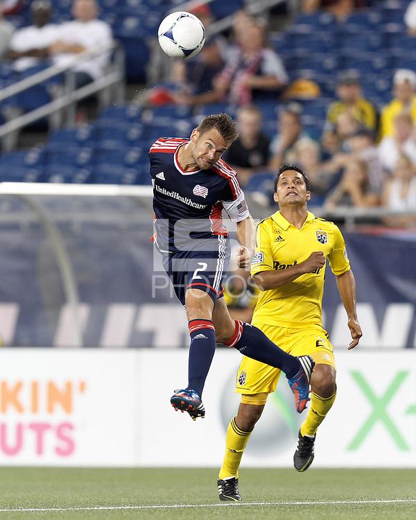 New England Revolution defender Flo Lechner (2) heads the ball. In a Major League Soccer (MLS) match, the New England Revolution defeated Columbus Crew, 2-0, at Gillette Stadium on September 5, 2012.