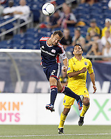 New England Revolution defender Flo Lechner (2) heads the ball. In a Major League Soccer (MLS) match, the New England Revolution defeated Columbus Crew, 2-0, at Gillette Stadium on September 5, 2012.