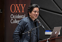 "Gerdo Aquino, CEO, landscape and urban-design firm SWA Group<br /> Occidental College's 3rd LA (Re)Designing LA series concludes in Choi Auditorium at Occidental College on April 17, 2019. Hosted by Oxy Professor of Practice and Chief Design Officer for the City of Los Angeles Christopher Hawthorne, guest speakers and panelists discussed ""Turn Off the Sunshine: Shade as an Equity Issue in a Warming Los Angeles.""<br /> 3rd LA is co-sponsored by Occidental, the Mayor's Office and the Los Angeles Department of Cultural Affairs.<br /> (Photo by Marc Campos, Occidental College Photographer)"