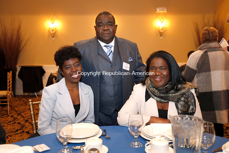 WATERTOWN, CT- 12 November 2016-111216CM14- Social Moments from left,  Malicia Woods, Terry Woods Alathea Woods, all from Waterbury are photographed during the Naugatuck Valley Project's 4th Annual Micah Awards Dinner at the Grand Oak Villa in Oakville on Saturday.    Christopher Massa Republican-American
