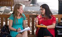 Occidental College incoming first-years talk with faculty advisor Alexandra Puerto, associate professor, History, during major department information session and group advising, part of Orientation on August 25, 2014 in the Academic Quad. (Photo by Marc Campos, Occidental College Photographer)