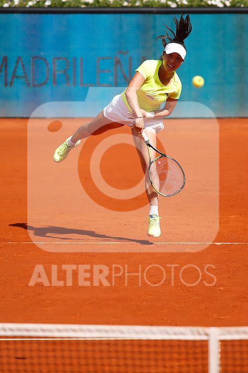 Chinese tennis player Jie Zheng during Madrid Open Tennis 2014 match. May 06, 2014. (ALTERPHOTOS/Victor Blanco)