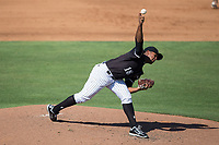 Kannapolis Intimidators starting pitcher Yosmer Solarzano (18) delivers a pitch to the plate against the Hagerstown Suns at Kannapolis Intimidators Stadium on June 15, 2017 in Kannapolis, North Carolina.  The Intimidators walked-off the Suns 5-4 in game one of a double-header.  (Brian Westerholt/Four Seam Images)