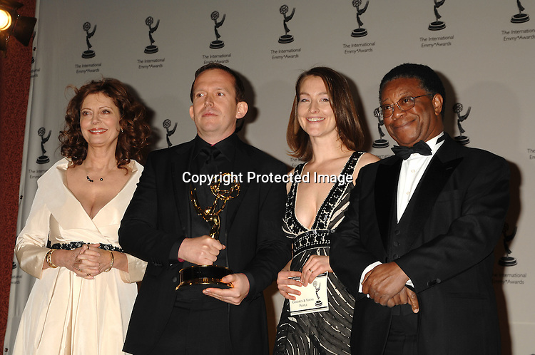 Susan Sarandon, winners Johnny Capps and Katie Baxendale for Children and Young People for Sugar Rush..at The 2006 International Emmy Awards Gala press room on   November 20, 2006 at The New York Hilton. ..Photo by Robin Platzer, Twin Images